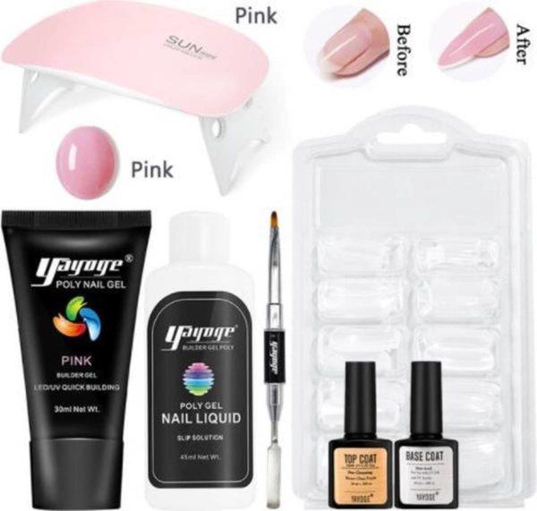 Polygel set, Polygel kit, Polygel starterset, Polygel, Gellak starterset, polygel, Polygel kit , UV LED Lamp - 30 ml - Nagelverlenging - Nagelversteviging - Manicure Set - Gel nagellak