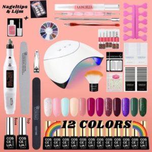 Professionele gellak set - nagellak - 12 kleuren gel polish - nageldroger - UV lamp 36W - nailart - nagelstickers - nagelboor - manicure/ pedicure - kunstnagels - topcoat/ bascoat