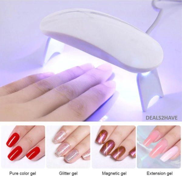 Professionele nagellak droger - Set - Werkt op USB - Nagel lamp - Nagellakdroger - Nageldroger - UV - Wit