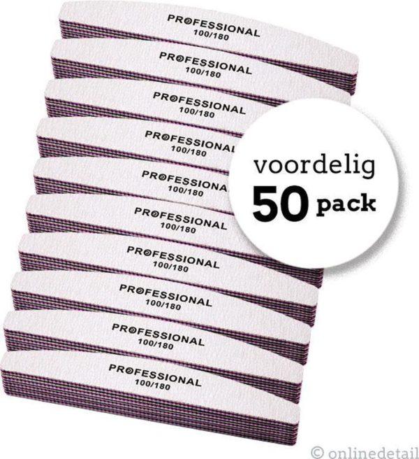 Professionele nagelvijl - 50 STUKS - Moon #100/180 - Top Kwaliteit - NIET GOED GELD TERUG!