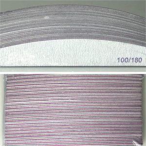 Professionele nagelvijlen half moon| 100/180 grit |pak van 24 stuks geschikt voor Gel, Gellak en Acrylnagels en natuurlijke nagels