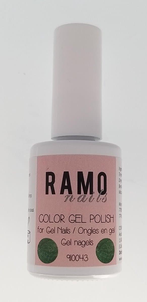 Ramo gelpolish 910043-gel nagellak-gellak-gelpolish-uv≤d-15ml-soak off-semi transparant -glitter-groen