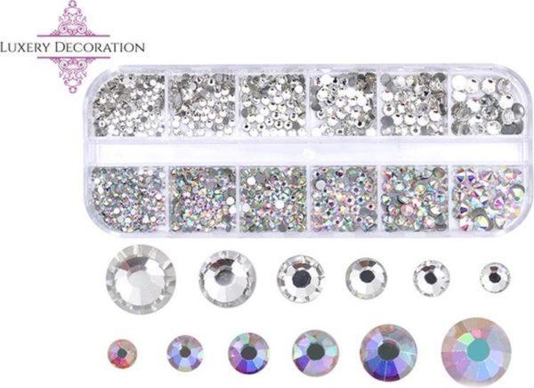Rhine stone - Nail Art Diverse Kleuren - Strass nagel steentjes - Rhinestone - 3D nail art - nagel diamantjes- Bruidsnagels- 1200 steentjes