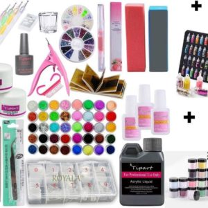 Royala - Acrylnagels Starters Pakket Large|L| 125 delig | 94 Colors | Acryl Nagels set | Acryl Starter Kit | Nail Art Pakket | 500 Franse Nageltips | Manicure Set voor Nail Art Kit | Nagel Decoratie