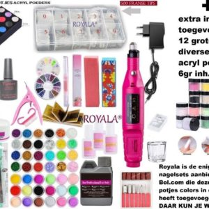 Royala - Acrylnagels Starterspakket Incl. Nagelfreesmachine | +12 grote potjes Colored Acrylpoeder | Acryl Nagels Starter Kit Set | Nail Art Pakket | 84 Delig | 500 Franse Tips