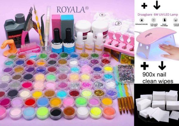 Royala Acrylnagelset uitgebreid | incl. UV/LED lamp | Topcoat | Basecoat | 900x Nail Wipes | Cleanser | 500 French Tips