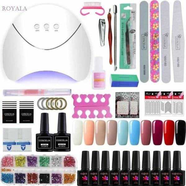 Royala Gellak G Starterspakket + Inclusief UV Lamp + Met 10 Verschillende Gellak Kleuren - Gellak Lamp - Gellac Set - Alle Benodigdheden in Eén - Uitgebreid 62-Delig pakket
