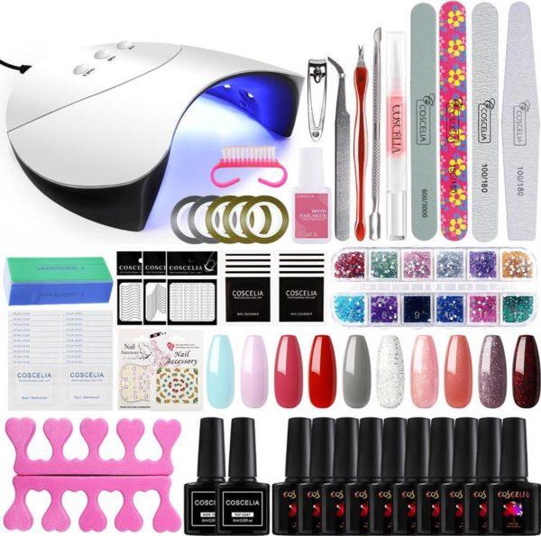 Royala Gellak J Starterspakket + Inclusief UV Lamp + Met 10 Verschillende Gellak Kleuren - Gellak Lamp - Gellac Set - Alle Benodigdheden in Eén - Uitgebreid 62-Delig pakket