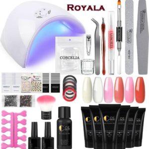 Royala - Professionele Polygel kit A - 6 Kleuren Tube's a 30ml Polygel - 6 Kleuren Polygel Pakket - incl. 36 W UV Nageldroger - Polygel nagels - UV Nagel lamp - Nagelvijl - Poly acryl nagels - Nail art - Gel lak - Nagel stickers - Nageltips