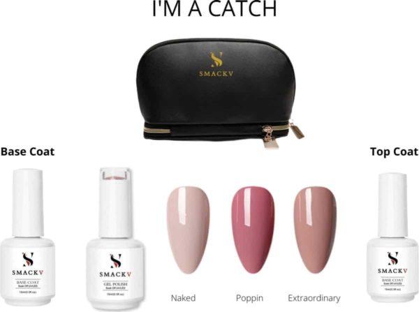 SMACKV® Gellak I'm a Catch Trio Pack Set- 3 Nude kleuren Gel polish 15ml - Base & Top Coat - Big Size Gel nagellak - Cosmetische Tas