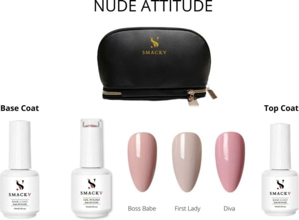 SMACKV® Gellak Nude Attitude Trio Pack Set- 3 Nude kleuren Gel polish 15ml - Base & Top Coat - Big Size Gel nagellak - Cosmetische Tas