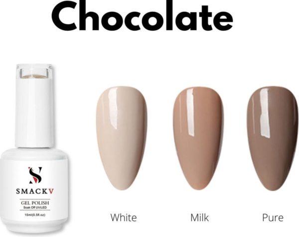 SMACKV® UV/LED Gellak Chocolate Pack- 3 Bruine kleuren Gelpolish 15ml- Big Size Gel nagellak - Shellac