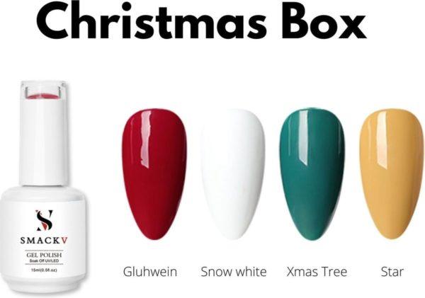 SMACKV® UV/LED Gellak Christmas Four Pack- 4 Kerst kleuren Gelpolish 15ml- Big Size Gel nagellak - Shellac