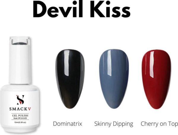 SMACKV® UV/LED Gellak Devil Kiss Trio Pack- 3 kleuren Gelpolish 15ml- Big Size Gel nagellak - Shellac