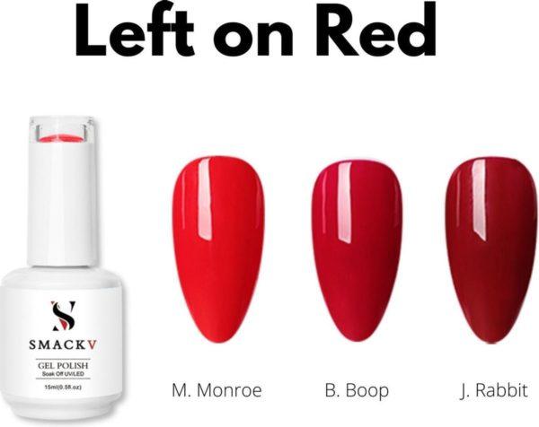 SMACKV® UV/LED Gellak Left on Red Trio Pack- 3 kleuren Gelpolish 15ml- Big Size Gel nagellak - Shellac