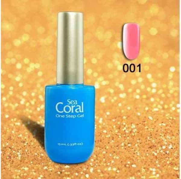 SeaCoral One Step No Wipe Gellak, Gel Nagellak, GelPolish, zónder kleeflaag, UV en LED, kleur 001