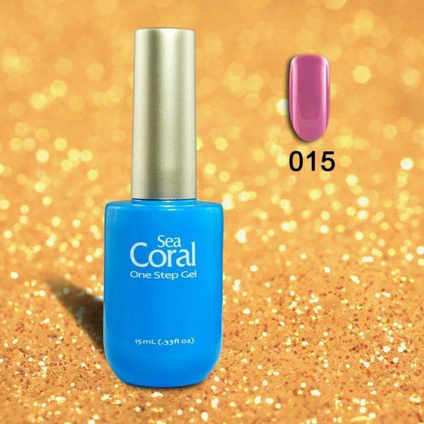 SeaCoral One Step No Wipe Gellak, Gel Nagellak, GelPolish, zónder kleeflaag, UV en LED, kleur 015