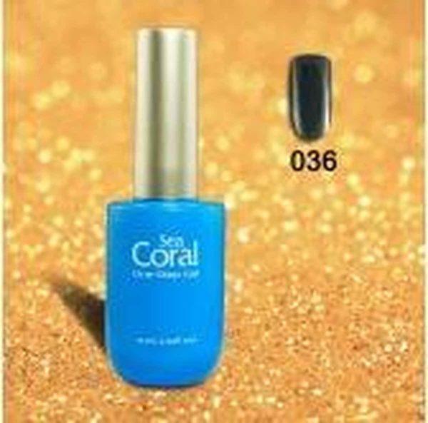 SeaCoral One Step No Wipe Gellak, Gel Nagellak, GelPolish, zónder kleeflaag, UV en LED, kleur 036