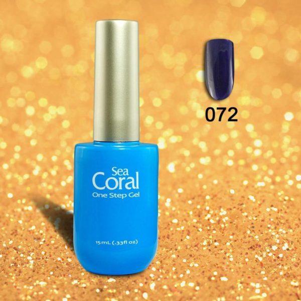 SeaCoral One Step No Wipe Gellak, Gel Nagellak, GelPolish, zonder kleeflaag, UV en LED, kleur 072