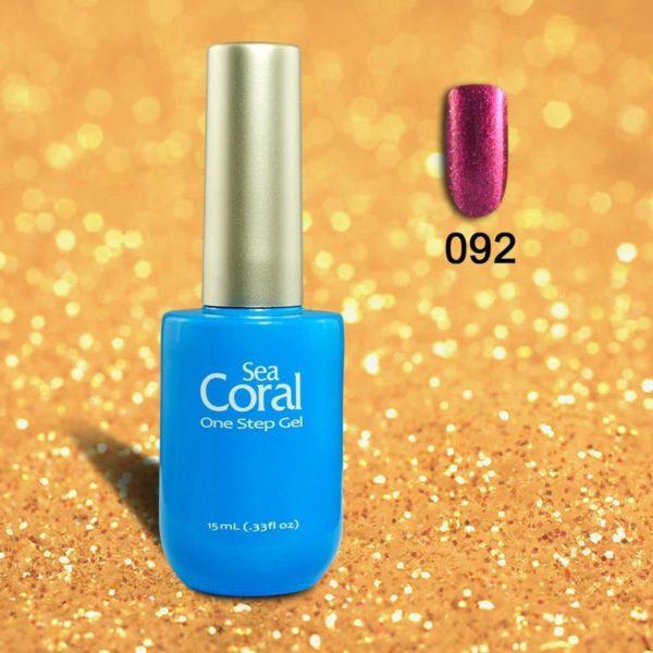 SeaCoral One Step No Wipe Gellak, Gel Nagellak, GelPolish, zonder kleeflaag, UV en LED, kleur 092