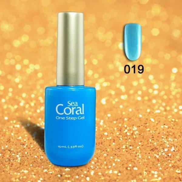 SeaCoral One Step No Wipe Gellak, Gel Nagellak, GelPolish, zónder kleeflaag,UV en LED, kleur 019