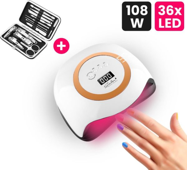 Seidon© Nageldroger 168W - LED Lamp Nagels - Gellak lamp - UV Lamp Gelnagels - Incl. 15 Delig Pedicure Set