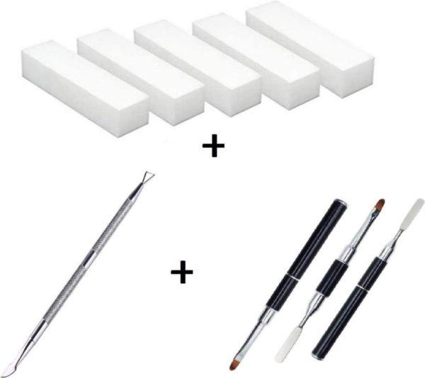 Set 1: Professioneel Polijstblok - Buffer blok - 4 zijdige vijl - Wit - 5 Stuks + 2 nageltools