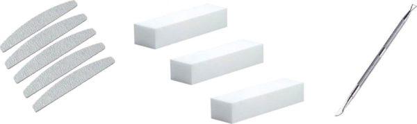 Set 4: 5 Professionele Nagelvijlen 100/180 grid + 3 polijstblokken + Nagelschraper voor verwijderen van gellak