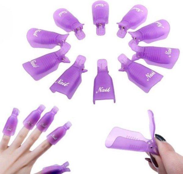 Set Soakoff clips -Nagellak - Remover - gelpolish - Gelnagellak - shellac -Vinger / Nagel - klemmetjes - Verwijderen - Soak Off - Acryl - Gel - Nagels - Nagellak -10 stuks