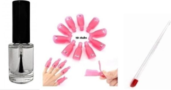 Set Soakoff clips - bokkepootje -nagelriem - olie - Nagellak - Remover - gelpolish - Gelnagellak - shellac -Vinger / Nagel - klemmetjes - Verwijderen - Soak Off - Acryl - Gel - Nagels - Nagellak