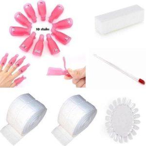 Set Soakoff - clips - kleurendisplay- polijstblok- bokkepootje- celstofdeppers-Nagellak - Remover - gelpolish - Gelnagellak - shellac -Vinger / Nagel - Acryl - Gel - Nagels