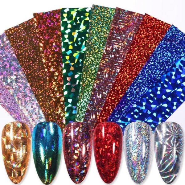 Set van 50 x Transfer nail art folie + 1 rubberen bokkepoot - holografisch - Nagel Foil / Transferfolie - Nagelstickers - Nail Art Sparkolia