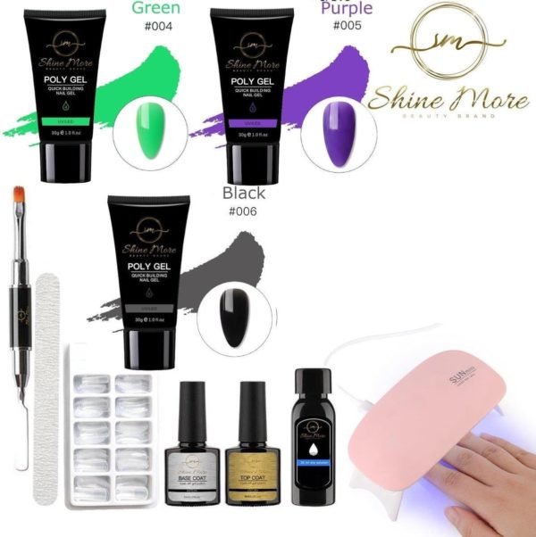 Shinemore ® Poly Gel kit - Gellak Starters pakket incl. UV Nageldroger - 3 kleuren polygel - Nageltips - Top & Base coat - Nageldroger - Poly Acryl nagels - Polygel set - Green , Purple , Black