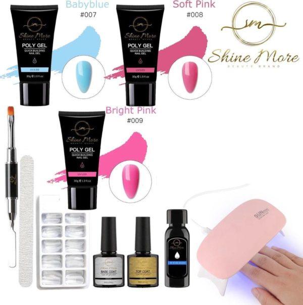 Shinemore ® Poly Gel kit - Gellak Starters pakket incl. UV Nageldroger - 3 kleuren polygel - Nageltips - Top & Base coat - Nageldroger - Poly Acryl nagels - Polygel set - Baby Blue , Soft Pink , Bright Pink