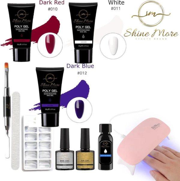 Shinemore ® Poly Gel kit - Gellak Starters pakket incl. UV Nageldroger - 3 kleuren polygel - Nageltips - Top & Base coat - Nageldroger - Poly Acryl nagels - Polygel set - Dark Red , White , Dark Blue