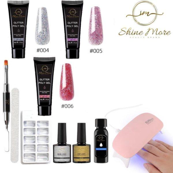 Shinemore ® Poly Gel kit - Gellak Starters pakket incl. UV Nageldroger - 3 kleuren polygel - Nageltips - Top & Base coat - Nageldroger - Poly Acryl nagels - Polygel set - Silver Glitter , Full Pink Glitter , Full Red Glitter