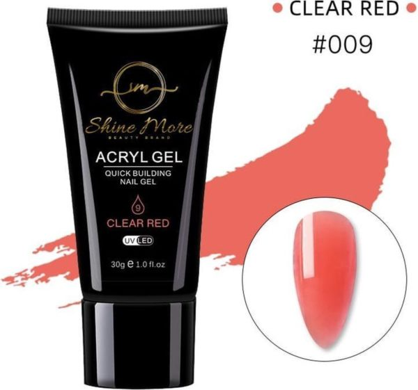 Shinemore Polygel Gel nagels 30 Gram Tube Clear Red