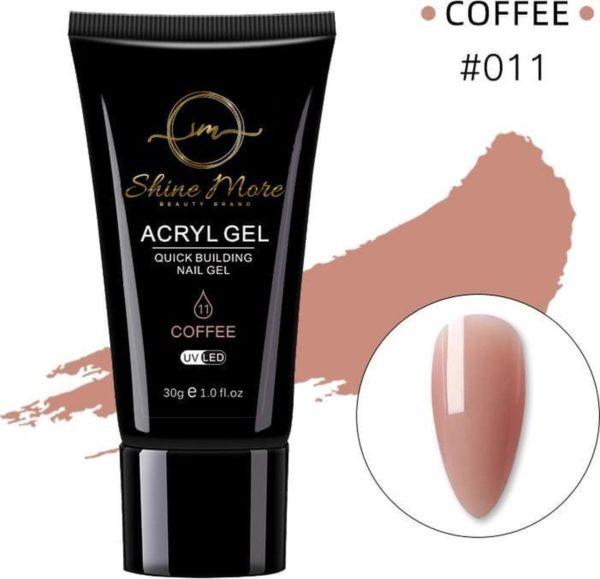 Shinemore Polygel Gel nagels 30 Gram Tube Coffee