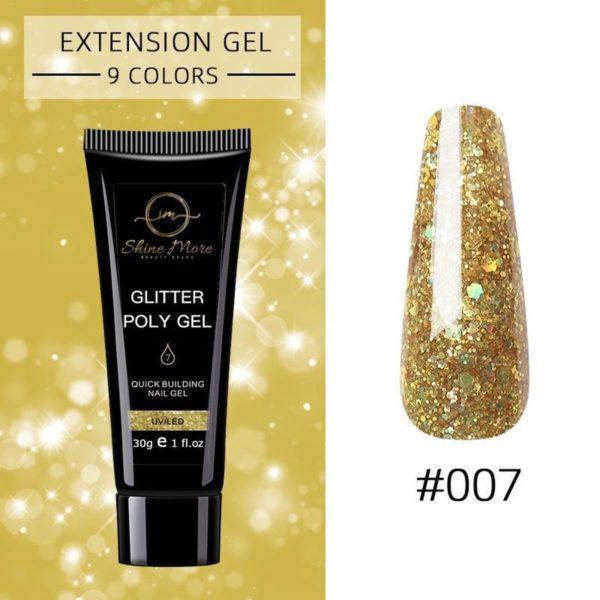 Shinemore Polygel Gel nagels 30 Gram Tube Full Gold Glitter