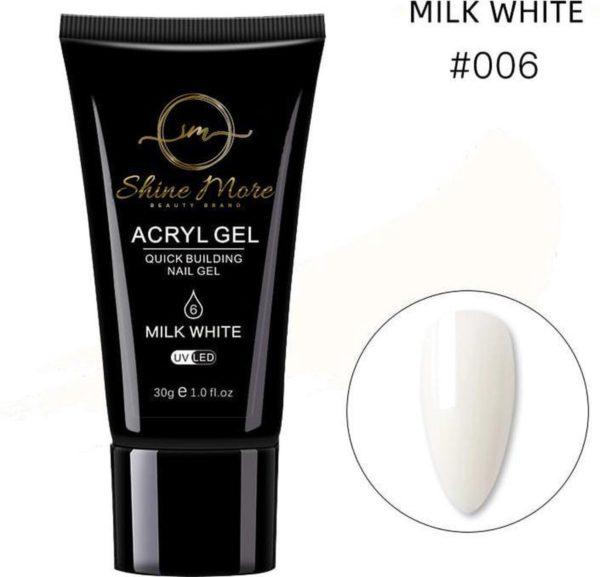 Shinemore Polygel Gel nagels 30 Gram Tube Milk White