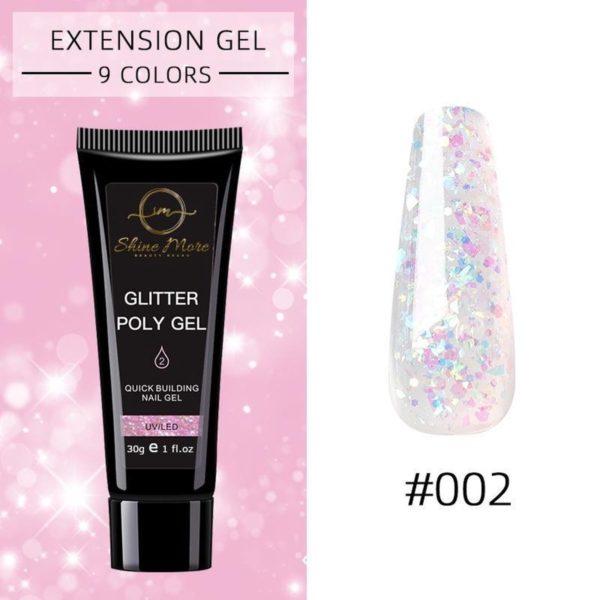 Shinemore Polygel Gel nagels 30 Gram Tube Pink Glitter