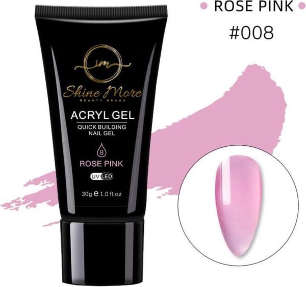 Shinemore Polygel Gel nagels 30 Gram Tube Rose Pink