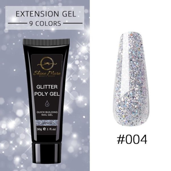 Shinemore Polygel Gel nagels 30 Gram Tube Silver Glitter