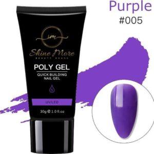 Shinemore Polygel Gel nagels 30 Gram Tube Solid Purple