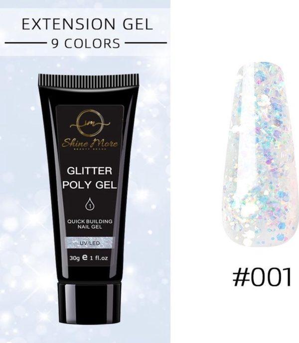 Shinemore Polygel Gel nagels 30 Gram Tube White Glitter