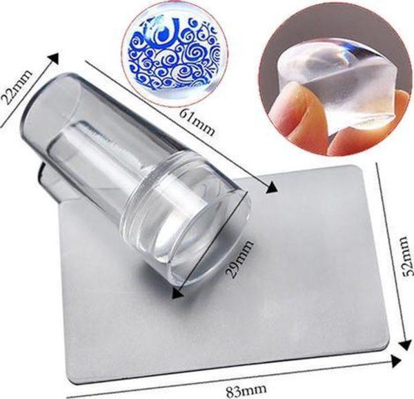 Siliconen nagel stempel set ' GELLY ', 2-delig: doorzichtige siliconen nagel stempel + beschermkap, stempel schraper