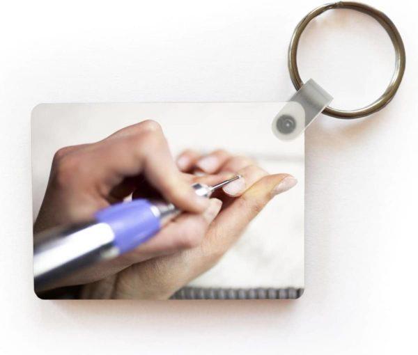 Sleutelhanger Nail Art - Elektrische nagelvijl sleutelhanger plastic - rechthoekige sleutelhanger met foto