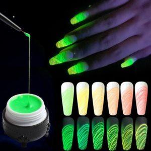 Spider Nagel Gel kit - 4 kleuren - Art Penseel- Lichtgevende UV Gellak - Luminous Spider Nail Gel Polish-Fluoriscerend Effect