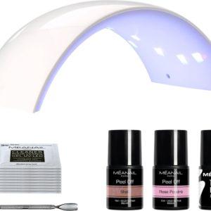 Starterspakket Gellak - MEANAIL Kit PEEL OFF - UV LED lamp - Shell & Rose Poudré - Gel Nagellak