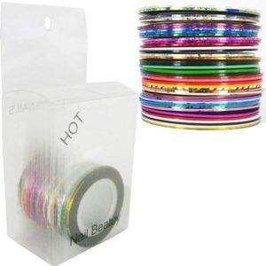 Striping tape pakket, nailart set met liefst 34 kleuren!